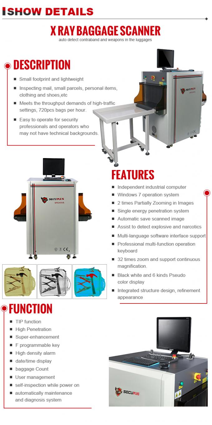 80KV Single Energy X Ray Security Scanner With Windows 7 System